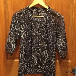 Express sheer blouse black and white size XS